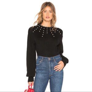 Tularosa Revolve Jules Black Sweater with Pearls